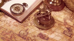 Vintage still life on an old map in 1565. Stock Footage