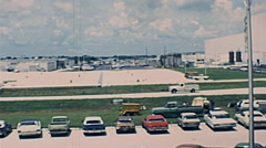 Cape Canaveral 1977: cars parked inside Kennedy Space Center Stock Footage