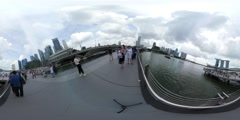 360 shot of the singapore skyline from merlion Stock Footage