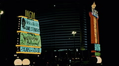Las Vegas 1977: MGM sign in the night Stock Footage