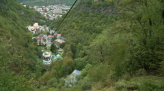 Cable car in Borjomi, Georgia. Top view of the city Stock Footage
