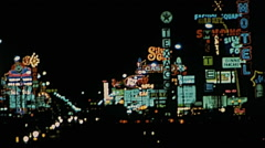 Las Vegas 1977: neon signs in the strip Stock Footage