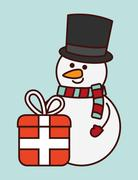 Kawaii snowman and gift of Christmas season Stock Illustration