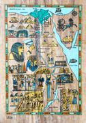 Stylized map of ancient Egypt for tourists in the papyrus Piirros