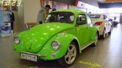 Exhibition of retro cars Volkswagen Beetle Stock Footage