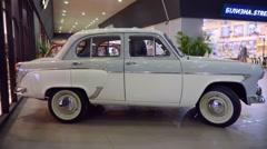 Exhibition of Soviet retro car Moskvich 407. Side view Stock Footage