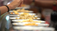 Tasting different varieties of cheese. Close Up. Stock Footage