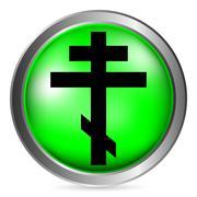 Religious orthodox cross button Stock Illustration