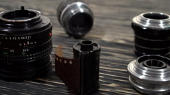 Vintage 35mm cameras and lenses. Stock Footage