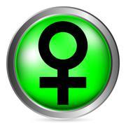 Gender female symbol button Stock Illustration