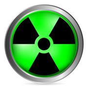 Radiation sign button Stock Illustration