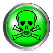 Skull and bones danger sign button Stock Illustration
