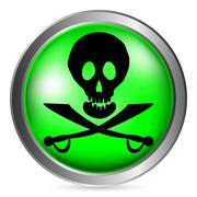 Jolly Roger button Stock Illustration