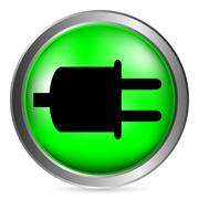 Power cord sign button Stock Illustration