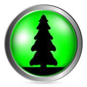 Fir tree button Stock Illustration