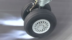 Aircraft landing gear at landing on the landing stage Stock Footage