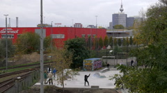 Slow Motion Skaters doing tricks in Berlin Stock Footage