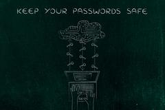 Laptop with circuit cloud and keys, safe passwords and cloud storage Stock Illustration