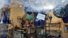 Blue Glass in Shopfront HD Stock Footage
