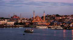 Aerial view of harbor in Istanbul. Time-lapse at sunset Stock Footage