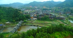 Wood bridge  in South China Fengyu Bridge Stock Footage
