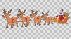 Christmas sleigh with four reindeer and Santa Claus. 25 fps Arkistovideo