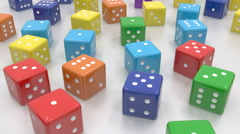 Random color dice tracking Stock Footage