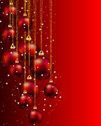 Hang red Christmas balls and snow Stock Illustration