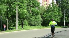 Training triathlete Stock Footage