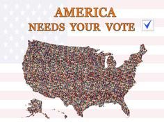 Appeal to vote on presidential election with map of USA Stock Illustration