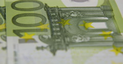 Rotating 100 Euros bank notes business background Stock Footage