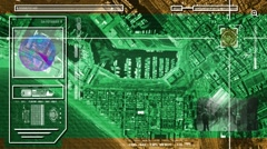 City - High Tech - Drone View - Satellite - green - HD Stock Footage
