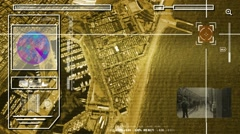 Beach - High Tech - Drone View - Satellite - yellow - HD Stock Footage
