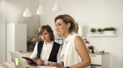 Business meeting in office, group of female businesspeople in video conference Stock Footage
