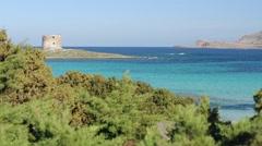 Amazing sardinian beach la pelosa, Stintino Stock Footage