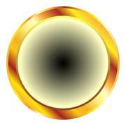 Golden circular button Stock Illustration