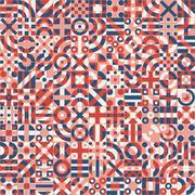 Vector Seamless Red Blue White Irregular Geometric Blocks Pattern Stock Illustration