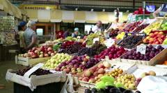 Farm vegetable market. Fruits Stock Footage