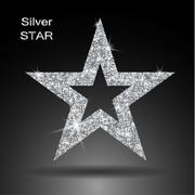 Silver star vector banner. Silver glitter . Template , card, vip, exclusive, Stock Illustration