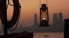 Lantern and life vests on the Mumbai background Stock Footage