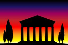 Ancient temple at the sunset Stock Illustration
