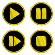 Gold play, pause, stop, forward buttons Stock Illustration