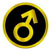 Gold gender male symbol button Stock Illustration