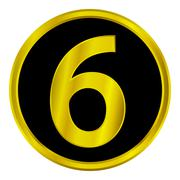 Gold number six button Stock Illustration