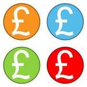 Pound symbol buttons set Stock Illustration