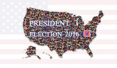 Message about presidential election 2016 with map of USA Stock Illustration