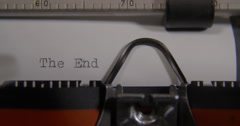 """Words """"the end"""" being typed on Vintage typewriter. Stock Footage"""