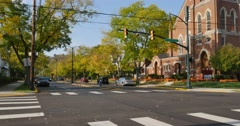 Day Establishing Shot of Residential Section of American Small Town   Stock Footage