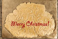 Roll out the dough cut out Christmas shapes, text, inscription Stock Photos