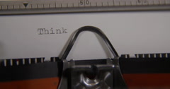 Word think being typed and centered on Vintage typewriter. Stock Footage